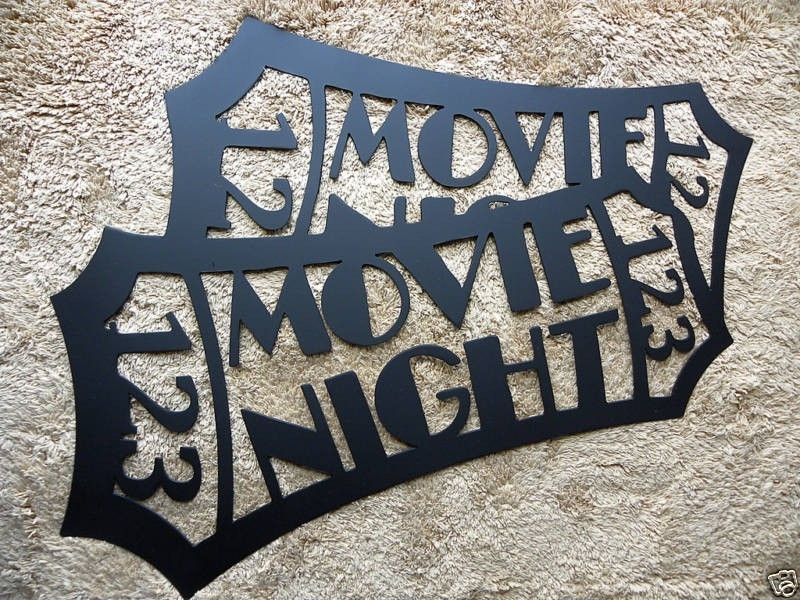 handmade home theater decor movie ticket black 24 metal wall art by say it all on the wall. Black Bedroom Furniture Sets. Home Design Ideas