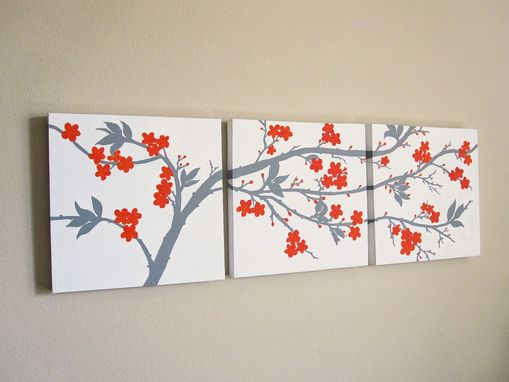 Custom Made Orange And Grey Cherry Blossom Triptych Painting On Canvas