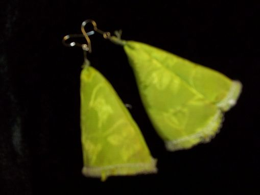 Custom Made Lime Green Jaquatd Earrings, Long Poet Cut