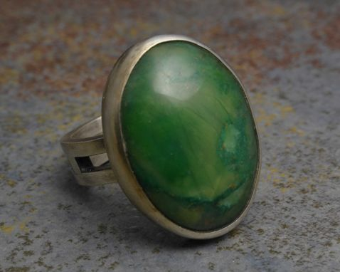 Custom Made Sterling Silver Ring With African Jade