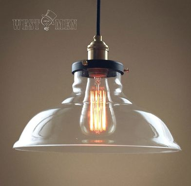 Custom Made Retro Clear Glass Pendant Light Ceiling Lamp Shade Fixture For Kitchen Island Over Table