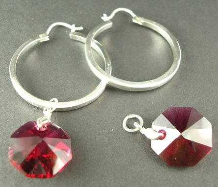 Custom Made Sterling Silver Hoops With Red Swarovski Charm