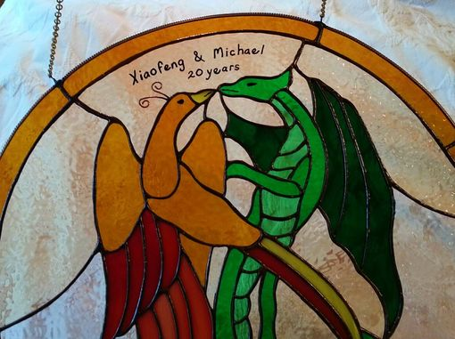 Custom Made Dragon And Phoenix Anniversary Stained Glass Window