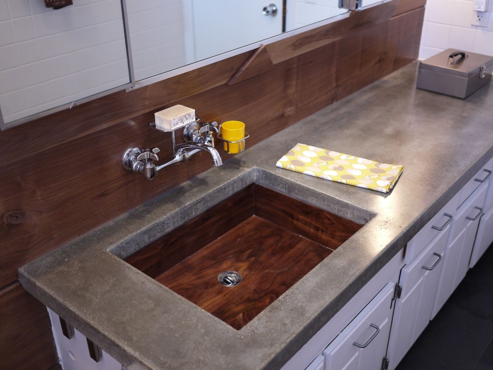 Hand Made Wooden Sink By Tree On A Hill Workshop