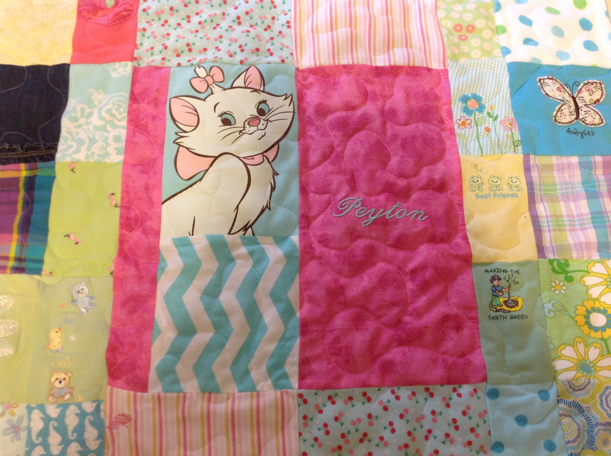 Hand Crafted Custom Embroidered Patchwork Baby Clothing Quilt by ...