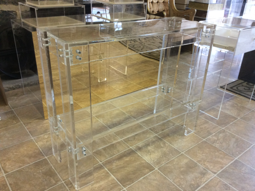 Hand Crafted Acrylic Lucite Console / Sofa Table Bar by ...
