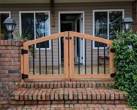 Custom Made Double Arched Stairway Gate / Patio Gate / Pet Gate / Baby Gate