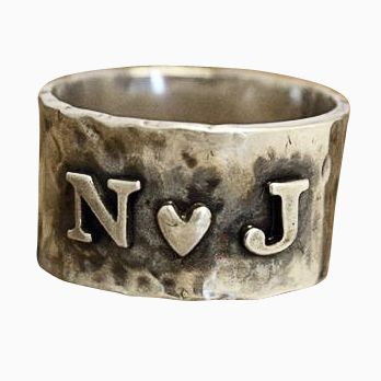 Custom Made Rustic Hammered And Handforged Sterling Silver Crazy In Love Ring