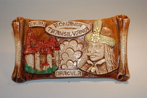 Custom Made Handmade Ceramic Painting Wall Decor Dracula's Castle