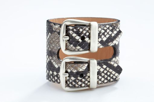 Custom Made Genuine Python Double-Buckle Luxury Bracelet/Cuff In Black And White - Exotic Leather