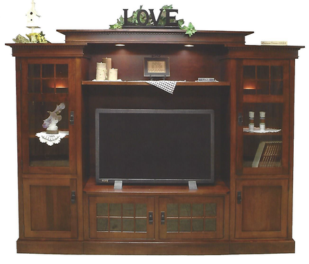 Custom Made Rockford Bridge Wall Unit Entertainment Center In Brown Maple