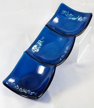 Custom Made 3-Section Fused Glass Dish In Deep Aqua With Dichroic Accents