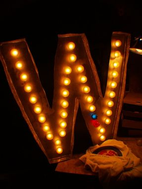 Custom Made Large Huge Vintage Marquee Art Letter Bulb Channel 3ft X 3ft Win Cubs Sox