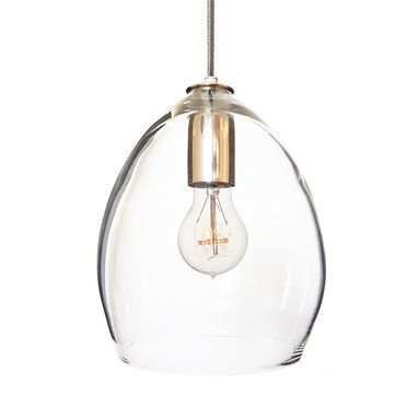 Custom Made Hand Blown Clear Glass Pendant Light- Nickel