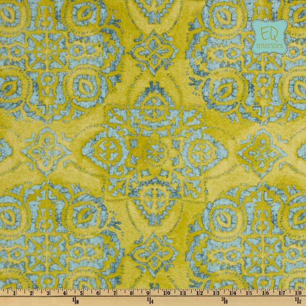Ikat curtain panels - Custom Made Braemore Jakarta Batik Ikat In Seaspray Citrine Blue Teal 84l X 50w Curtain
