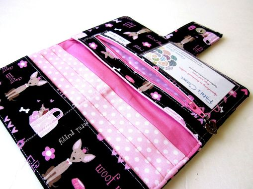 Custom Made Handmade Women Black Wallet My Puppy Fifi With Pink Hearts