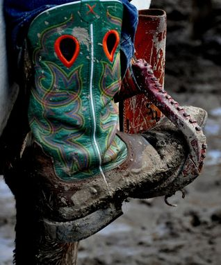 Custom Made Fine Art Photograph Of A Steer Wrestler's Boot