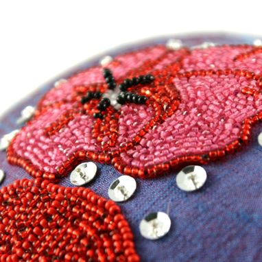 Custom Made Red Poppy Sequin Beaded Fascinator Gram Parson's Grievous Angel