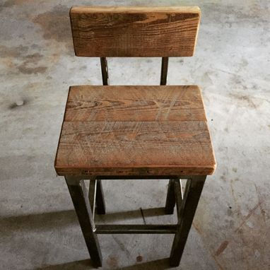 Custom Made Custom Stools- Steel And Reclaimed Wood