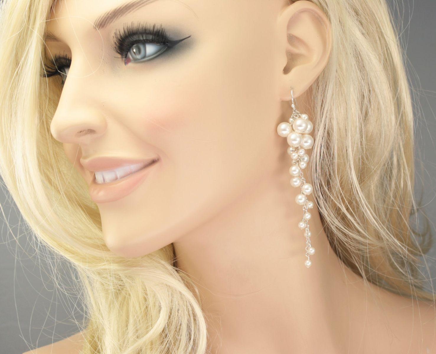 Long Pearl Cluster Earrings By Lizardi Jewelry