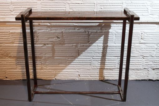 Custom Made Steel And Oak Floating Console/Entry Table