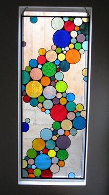 Custom Made Large Contemporary Stained Glass Bubble Window Panel / (W-10) Hanging And Colorful