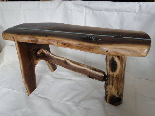 Custom Made Samurai Black Walnut Slab  Bench With Living Edges And Turquoise Inlay