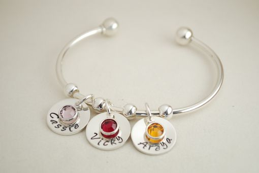 Custom Made Cuff Charm Bracelet With Name Charms And Birth Month Crystals, Custom Jewelry
