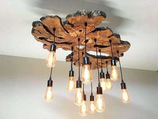 Handmade extra large live edge olive wood chandelier rustic and rustic and industrial light fixture custom made extra large live edge olive wood chandelier rustic and industrial light fixture aloadofball Image collections