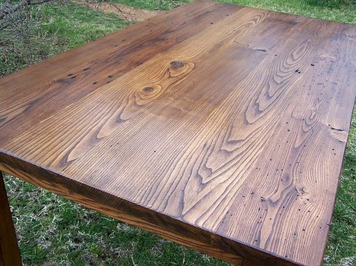 Custom Made Wormy Chestnut Thick Plank Farmhouse Dining Table