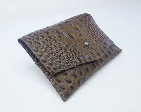 Custom Made Crocodile Clutch, Croco Leather Pouch, Leather Croco Patterned Clutch Purse