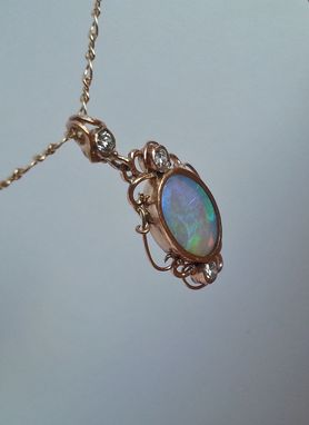 Custom Made 14k Gold Filigree Opal And Diamond Pendant