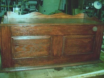 Custom Made Raised Panel Colonial Style Blanket Chest. In Red Oak