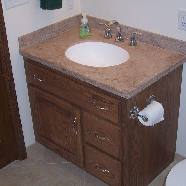 Handmade Custom Oak Bathroom Vanity And Linen Cabinet By Jeffrey