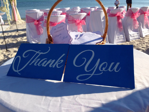 Custom Made Thank You Wedding Signs Blue And White Wedding Decor