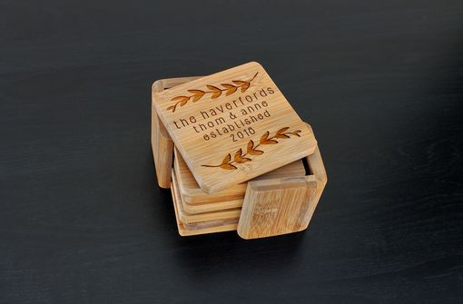Custom Made Custom Bamboo Coasters, Custom Engraved Coasters --Cst-Bam-Haverford