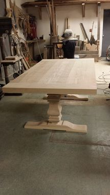 Custom Made 10ft Farmhouse Style Table W/ Extensions And Sculpted Base