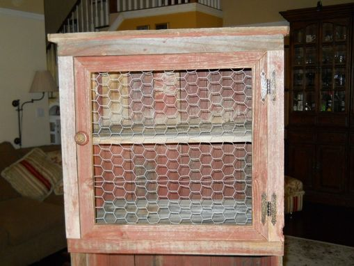 Custom Made Red Barnwood Hutch With Weathered Finish