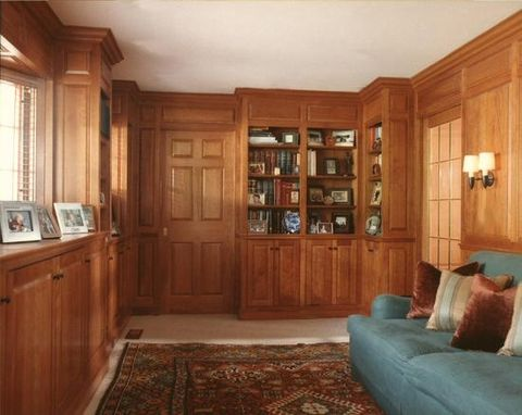 Custom Made Residential Library Constructed With Sustainable Cherry In Greenwich, Ct
