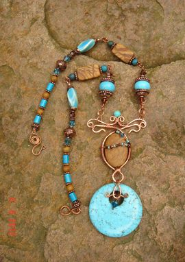 Custom Made Wire Wrapped Turquoise And Jasper Necklace