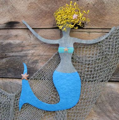 Custom Made Metal Mermaid Wall Art Extra Large Ocean Wall Decor - Rosie - Beach Cottage Wall Sculpture