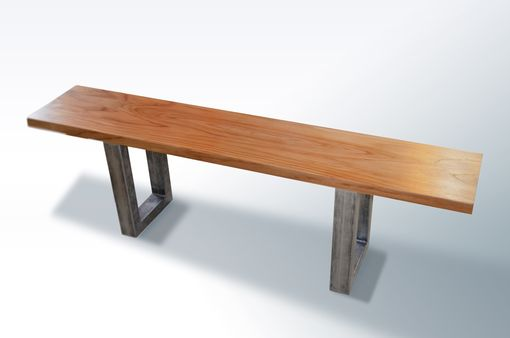 Custom Made Modern Teak Bench With Metal Legs