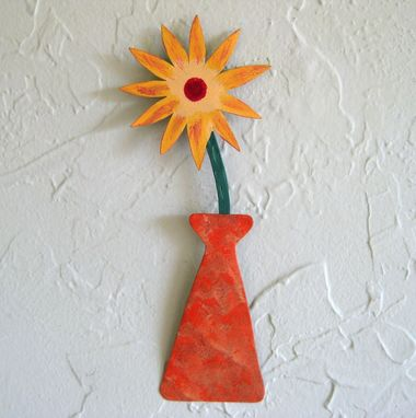 Custom Made Handmade Upcycled Metal Mini Flower Vase Wall Art Sculpture In Yellow And Orange