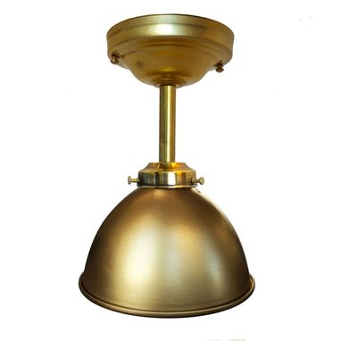 "Custom Made Dome 7"" Metal Shade Pendant Light- Brass Downrod"