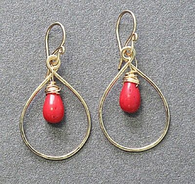 Custom Made Red Coral Drop Hoops