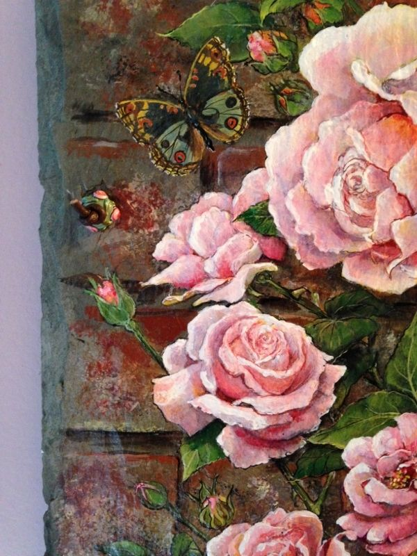 Buy A Hand Made Hand Painted Roses On Slate Made To Order
