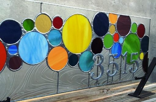 "Custom Made Stained Glass Transom With Address Marker /  ""Colored Circles"" (Am-49)"