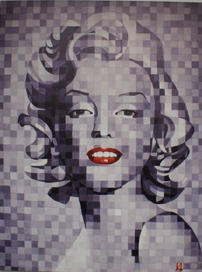 Custom Made Marilyn Monroe, Gray Pixel W/ Red, Oil On Canvas