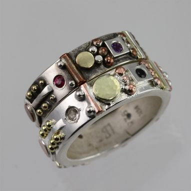 Custom Made Totem Ring With Gold, Sterling Silver, Copper, And Birthstones