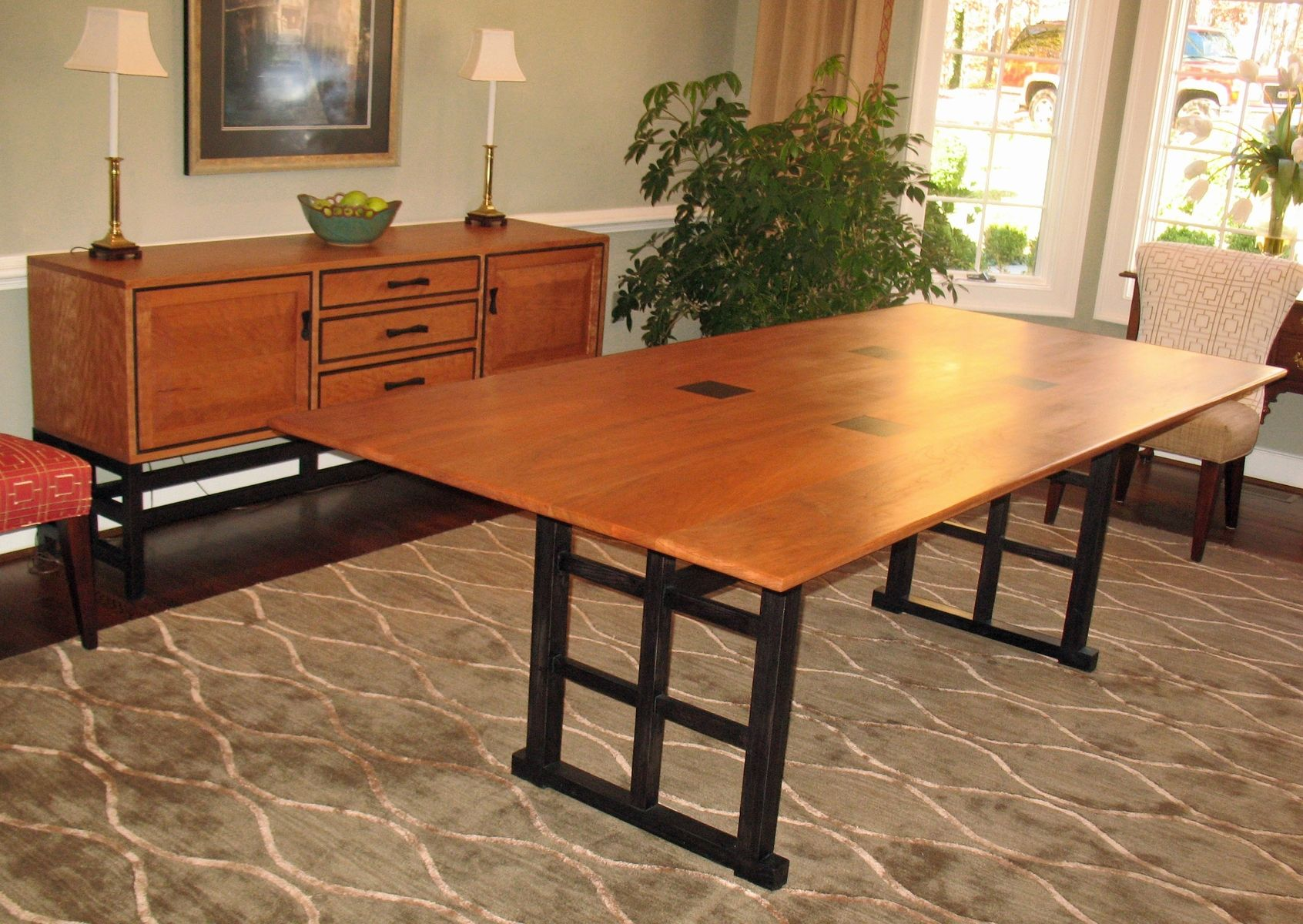 custom made curly cherry dining table and sideboard. Interior Design Ideas. Home Design Ideas